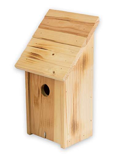 BigDean Nistkasten Schrägdach geflammt Vogelhaus Wildvögelhaus 18 x 12 x 33,5 cm Einflugloch 33 mm Vogelhäuschen Massiv Holz