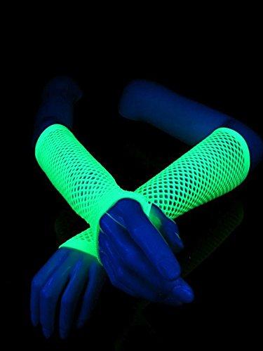 Paar Schwarzlicht Netz-Handschuhe Lang Fingerlos Feinmaschig Grün