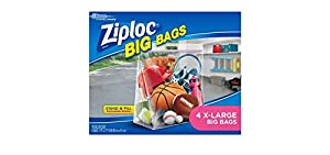 Image: Ziploc Big Bag Double Zipper | Xlarge | Pleated bottom and secure Double Zipper Seal | Convenient built-in handles