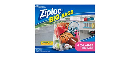 Ziploc Storage Bags, Double Zipper Seal & Expandable Bottom, XL, 4 Count, Big Bag