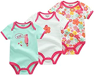 Baby Girl Clothes, 3 Pieces/Group 100% Cotton Short Sleeve 0-3 Months Baby Girl Clothes, Cartoon Baby Romper Baby Clothes Girl for Wear on The Body Gift Photograph Home Outdoor