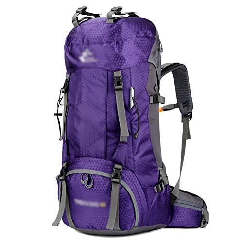 GELing 60L Sac a Dos Voyage Trekking Randonnée Camping pour Homme Femme,Violet 2,74X32X20cm