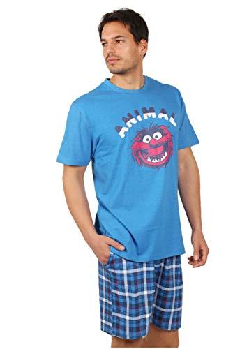 Disney Pijama Manga Corta Animal Day para Hombre, Color Azul, Talla L