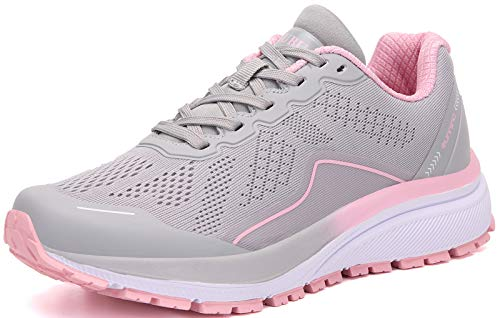 KUBUA Damen Straßenlaufschuhe Arch Supportive Atmungsaktive Sneakers, Beige (grau), 37 EU