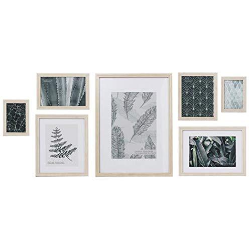 Marco de Fotos Set de 7 para Pared, de Madera, Color Natural, Tamaño Variado. Diseño Troical/Moderno 48x6x34cm - Hogar y Más