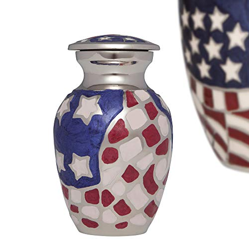 Flag Urn Keepsake for Ashes Cremation Urn Small Metal American patriotic Keepsake for Human Ashes - Affordable mini Funeral Keepsake Urn for Ashes Handcrafted Urn - Velvet bag (8529)