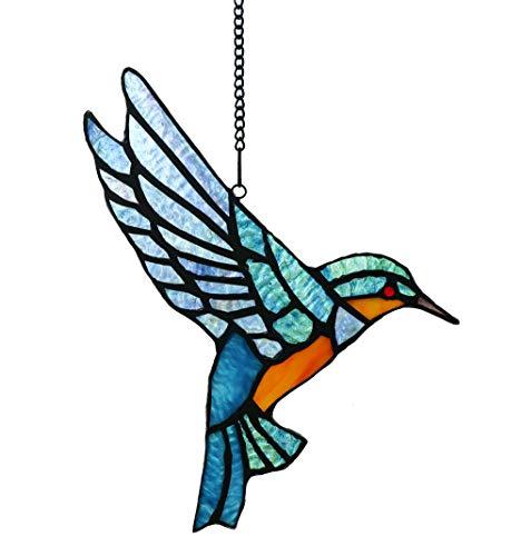 Tokira Tiffany Stil Glasmalerei Bluebird Fenster hängen Sun Catcher Ornament Vogel Window Panel, 9