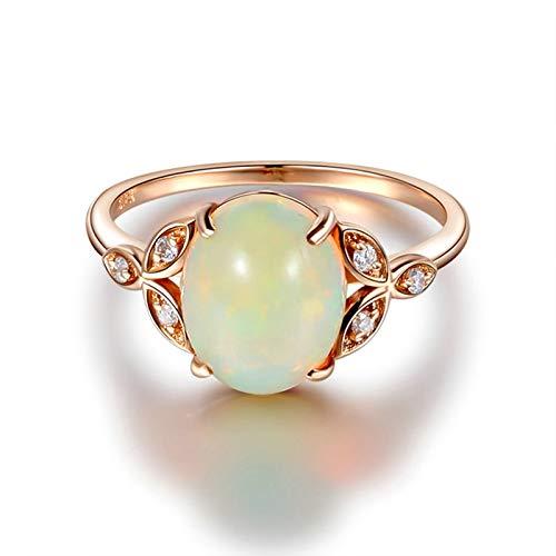 Daesar Damen Ring 18 Karat Rotgold Blatt mit Opal und Diamond Verlobungsring Ring Hochzeit Rosegold 45 (14.3)