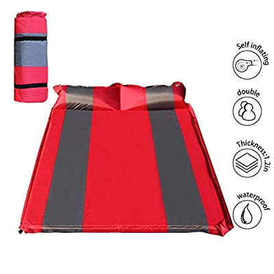 "WILD FUN 2 Person Double Self-Inflating Sleeping Pad with Pillow,Lightweight,75"" x 52"" Sleep Mat, Moisture-Proof Camping Pad, Perfect for Hiking & Backpacking (Red with Grey)"