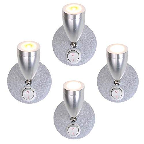 ProPlus Lot de 4 éclairages d'intérieur LED orientables 12 V 160 lm Ø 65 x 70-110 mm Interrupteur marche/arrêt