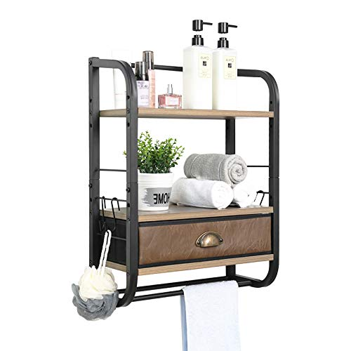 X-cosrack Wall Mounted Bathroom Shelves 3-Tier Adjustable-Layer Floating Shelve with PU Drawer and Towel Bar Industrial Iron Hanging Storage Rack for Kitchen Bathroom Living Room Bedroom