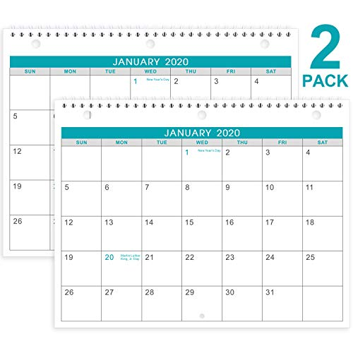 2020-2021 Calendar - 2 Pack Monthly Wall/Desk Calendar, Generous Memo Lined Pages with A4 Premium Thick Paper, 18 Months, January 2020 - June 2021, 11 x 8.5 Inches