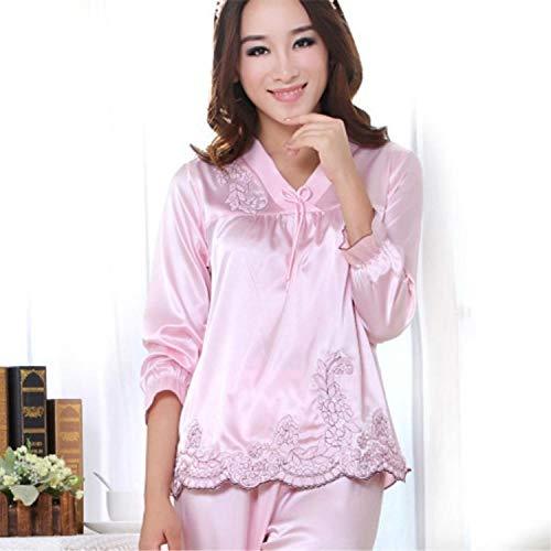 B/H Camisones Encaje Babydoll con Cordón,Pijama de Manga Larga para Mujer, Servicio a Domicilio de Seda de Dos Piezas-Pink_S,Mujeres Kimono Satén Seda