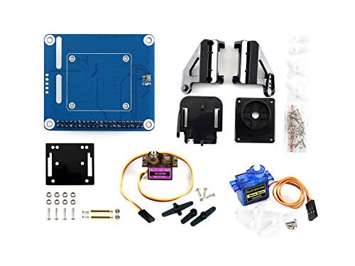 Waveshare 2-DOF Pan-Tilt HAT for Raspberry Pi Zero/Zero W/Zero WH/2B/3B/3B+ Onboard PCA9685 PWM Chip TSL25911FN 16-bit Ambient Light Sensor Make Pi Camera Move and Sense Light Intensity via I2C