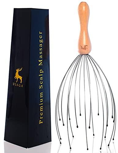 USAGA 20 Fingers Head Massager Head Scratcher Scalp Massager for Head Body Relaxing Wood Handle