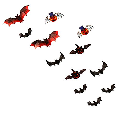 Sannysis 3D Fledermaus 12-teiliges Set Wandaufkleber Halloween Hausdekoration Fensterbild Wandtattoo Abnehmbare Fensterdeko Statisch Haftende PVC Fenster Aufkleber (12pcs, Mehrfarbig)