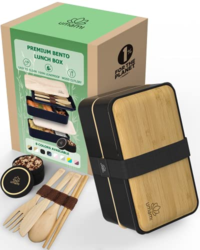UMAMI Bento Box for Adults/Children, New Premium Edition, Includes 2 Sauce pots & Cutlery 4 Pieces, Lunch Box for Men/Women, 2 Meal prep containers, Microwave & Dishwasher & Freezer Safe, BPA Free