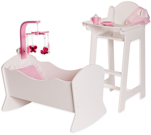 Playtime by Eimmie High Chair and Cradle Set - Doll Accessories - Furniture Set for 18 Inch Dolls