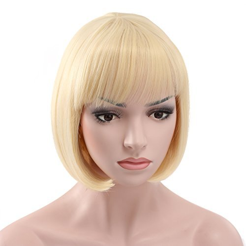 OneDor 10' Short Straight Hair Flapper Cosplay Costume Bob Wig (613# - Pre Bleach Blonde)