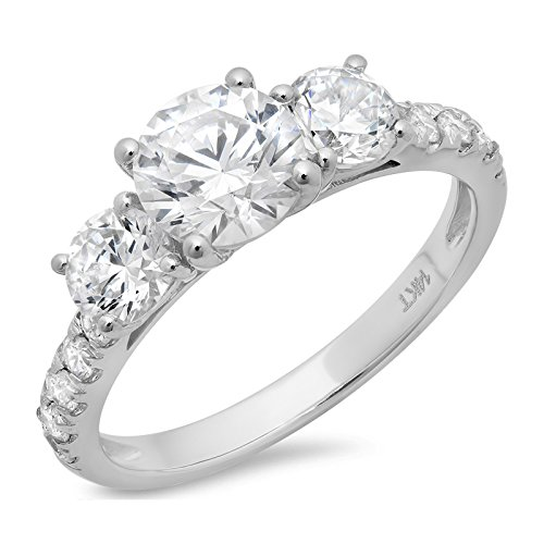 2.0CT Round Cut CZ Pave Three Stone Accent Bridal Engagement Wedding Band Ring 14K White Gold, Size 6.5