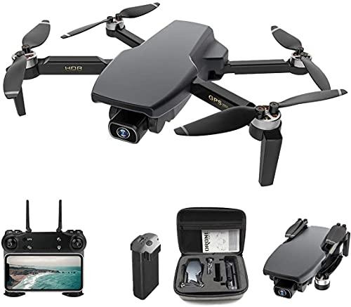 Drone FPV GPS pieghevole con fotocamera 4K per adulti Quadricottero RC con GPS, motore brushless, seguimi, ritorno automatico a casa, doppia fotocamera, posizione del flusso ottico (nere)
