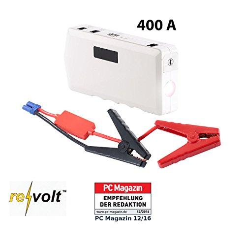 reVolt Jump Starter: Notebook-Powerbank m. Kfz-Starthilfe, Notfall-Hammer, 10.000 mAh/400 A (Kfz Starter)