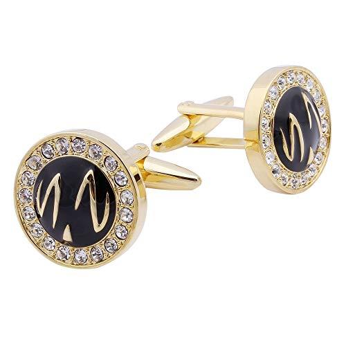 XKSWZD Manschettenknöpfe Modeschmuck Gold Runde Kristall personalisierte Hochzeit Manschettenknöpfe hoher Qualität