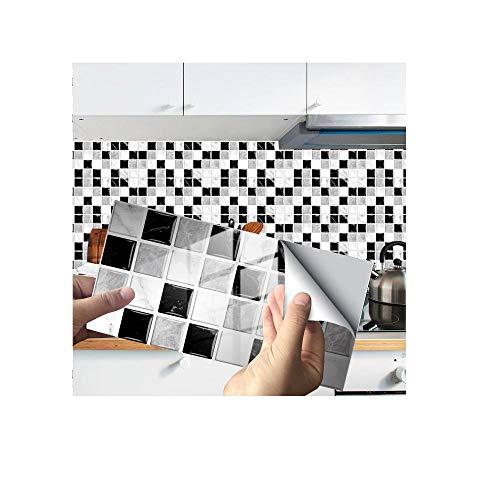 Pegatinas para azulejos, paneles de pared 3D, pegatinas de azulejos de cristal, decoración adhesiva, adhesivo para piso, adecuado para sala de estar, cocina, baño, etc