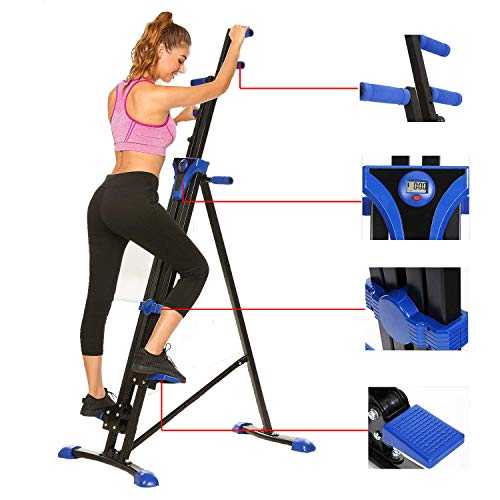 Steel Alloy Stair Climber Machine, Home Gym Exercise Folding Climbing Machine,Vertical Climbing Exercise Machine, Fitness Stepper Gym, Whole Body Cardio Workout Training (Blue)