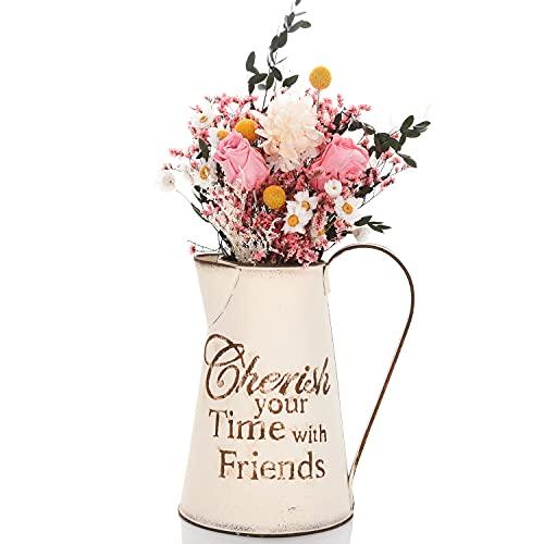 FORMIZON Jarra de Leche Vintage, Jarra de Jarra Francesa Vintage, Jarrón Rústico de Metal, Florero de Flores Decorativo Vintage Jarra Decorativa para Flores para Flores Secas Artificiales (Blanco)
