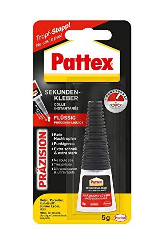 Pattex Sekundenkleber Präzision, Superkleber für punktgenaues Kleben ohne Nachtropfen, schnelltrocknender & spülmaschinenfester Flüssigkleber, 1 x 5g
