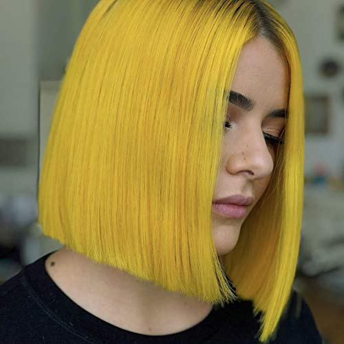 Lace Wig Human Hair Straight Bob Wig Ombre Hair Echthaar Perucken Farbe #1B Neongrün 4x4 Lace Front Glueless Wig Swiss Lace Weiches Haare Kurz 12 zoll von Volvetwig