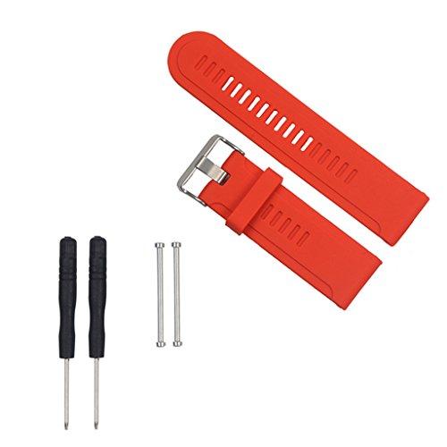 Sharplace Accesorios de Pulsera Inteligente, Correa de Silicona de Repuesto Y Hebilla de Metal para D2 Fenix 2 3 5X, 3 5 - Rojo