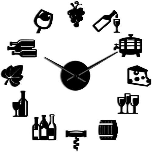 Reloj De Pared Reloj De Pared Moderno Queso Y Vino Cocina Moderna Arte Pegatinas Diy Reloj De Pared Gigante Bebida Alcohólica Pub Bar Letrero Sacacorchos Reloj De Pared Decorativo Adecuado Para Sala D