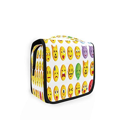 Kulturtasche zum Aufhängen, lustiges Emoji-Motiv, Kulturbeutel, Kosmetiktasche, Reisetasche mit 4 Fächern für Frauen