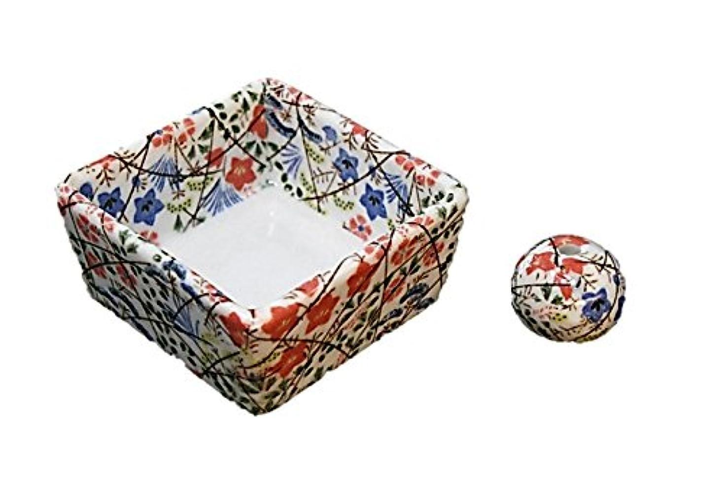望む浸した活力和モダン 錦織 お香立て 陶器 角鉢 製造直売品
