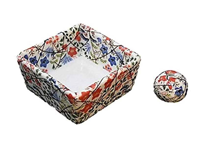 未亡人前任者酸化物和モダン 錦織 お香立て 陶器 角鉢 製造直売品