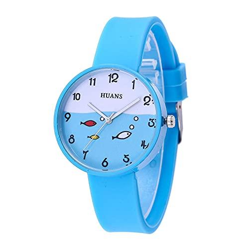 Reloj Infantil,Reloj 2021 New Girl Simple Small Fresh Silicone Watch Student Children Table de Cuarzo-Cielo Azul