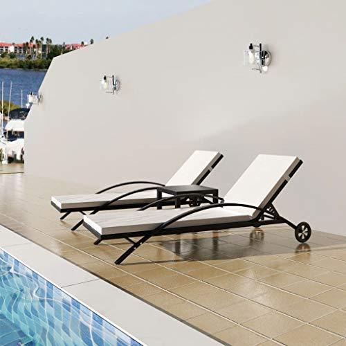 Tidyard 2tlg Verstellbare Doppel Sonnenliege Doppelliege Rattan mit 2 Rollen, Auflage und Tisch, Gartenliege 2 Personen Relaxliege Liegestuhl für Garten Terrasse Schwimmbad, Schwarz