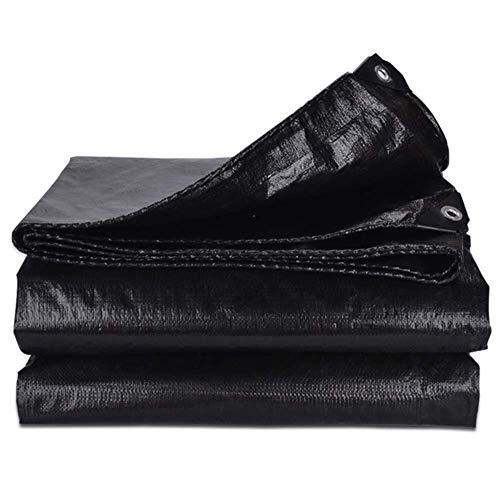 Voptech Al aire libre Negro Lona de PVC impermeable recubierto de tela impermeable de protección solar anti-UV cubierta del paño for acampar Camión Muebles de jardín piscina (Color: Negro, Tamaño: 5X7