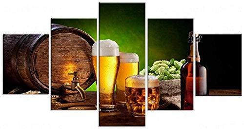 NC89 5 imágenes consecutivas, impresión en HD, Fondos de Pantalla de Cerveza, póster Modular Moderno, Pintura en Lienzo para la decoración del hogar de la Sala de Estar con