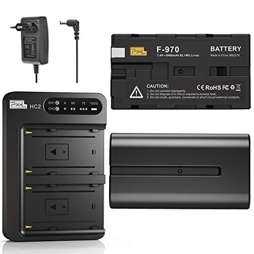 Batería y Cargador NP-F970 (Cargador Rápido Doble-Canal de 30 W), Batería Pixel NP F970 (Paquete de 2/8400 mAh) para Sony NP F750 F550 F770 F960 F975 F930 F570 DCR-VX2100 DSR-PD150 Luz de Video