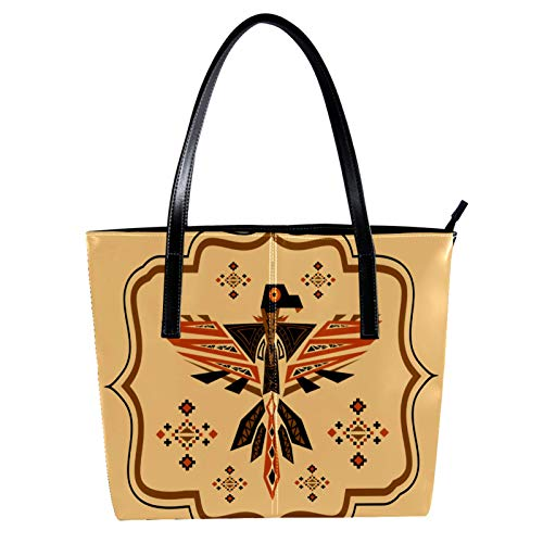 Indimization Handtaschen für Frauen, Damen-Handtasche aus Mikrofaser-Leder, großes Fassungsvermögen, Damen-Handtasche mit Tragegriff und Adler-Totem-Motiv, 39,9 x 29 x 8,9 cm