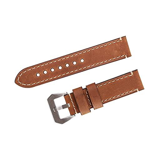 ZRNG Reloj Brazalete 22 mm Fit para Samsung Gear S3 Classic Frontier Huawei Watch GT Correa de Cuero Genuino para el Reloj para Hombre (Band Color : Brown, Band Width : 22mm)