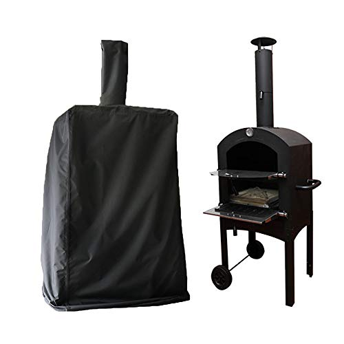 Mayhour Outdoor Pizza Oven Cover Heavy Duty Waterproof BBQ Grill Charcoal Wood Fired Pizza Bread Oven Cover Dustproof Windproof Anti-UV Black Bag Extra Large