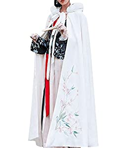 Gihuo Women's Wool Blend Embroidered Hooded Cloak Cape Trench Coat