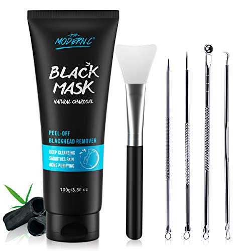 Black Mask-Blackhead Removal Mask Peel Off Facial Black Mask Pore Control, Skin Cleansing, Purifying Bamboo Charcoal With Blackhead Remover Extractor Tools Kit & Mask Brush XMAS GIFT (Black)