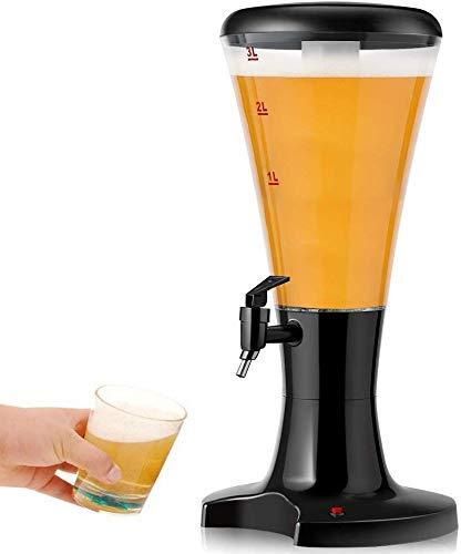 La Cerveza de Barril Torre Dispensador 3L Cerveza fría Torre Dispensador de Bebidas con Luces LED y el Tubo del Hielo Desmontable, Perfecto for el Partido Bar Inicio Negro