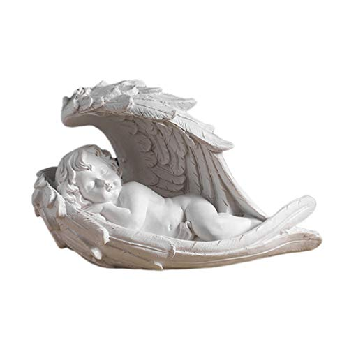 Garneck Bebé Angel Querubín Durmiendo Figura de Ángel Interior O Exterior Jardín Estatua Figura Decoración de Escritorio