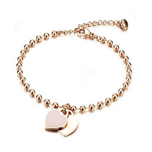 Gutcandie - Bracciale da donna in oro rosato con incisione, braccialetto di perle in acciaio inox con ciondolo a forma di cuore